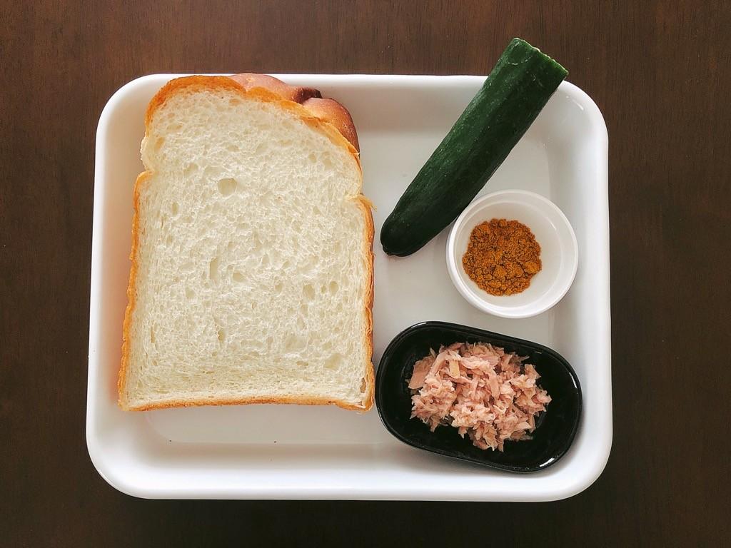 ツナきゅうりトースト材料