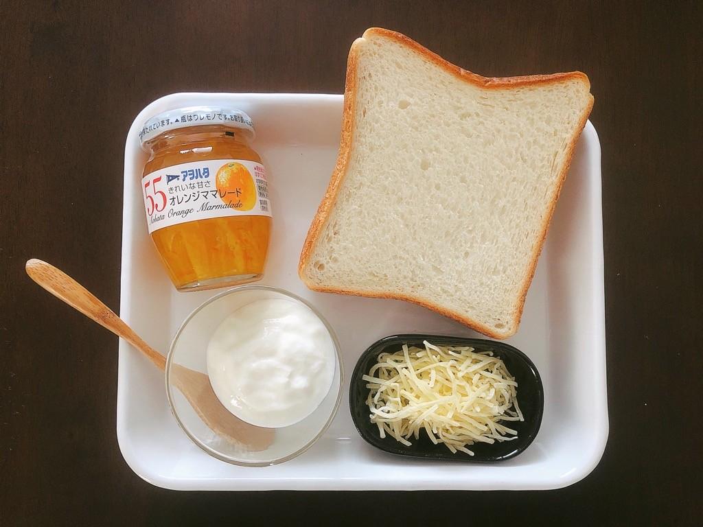 オレンジチーズケーキ風トースト材料