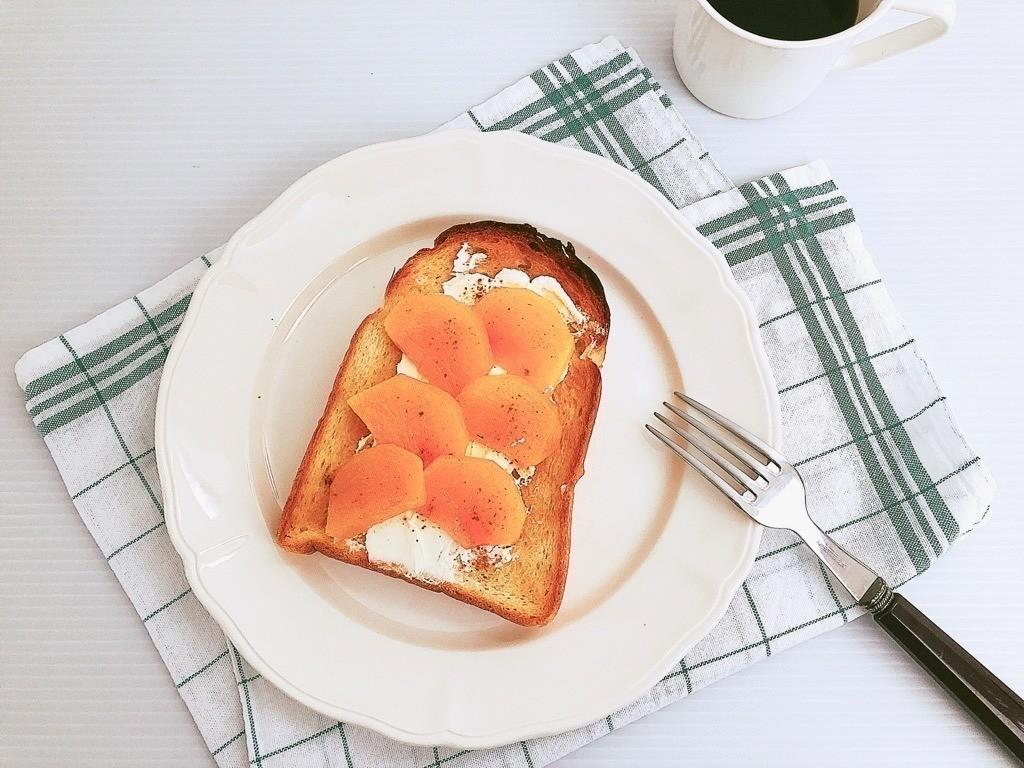 柿とサワークリームのトースト