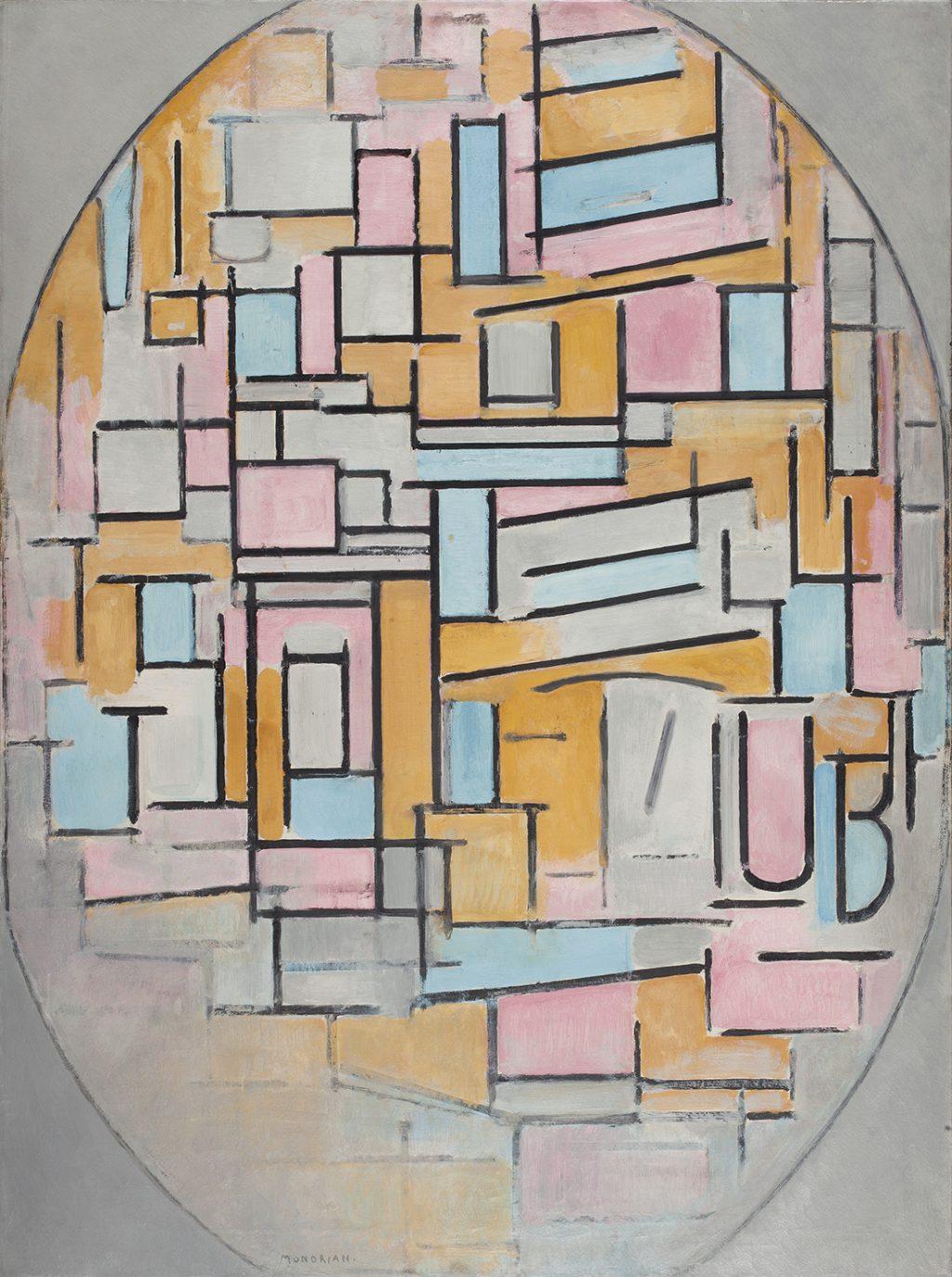 モンドリアン《色面の楕円コンポジション 2》