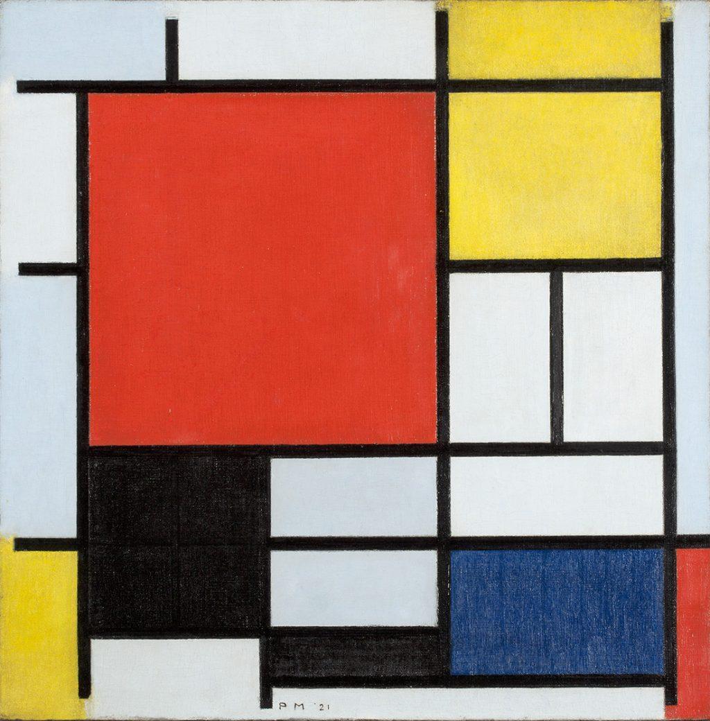 モンドリアン《大きな赤の色面、黄、黒、灰、青色のコンポジション》