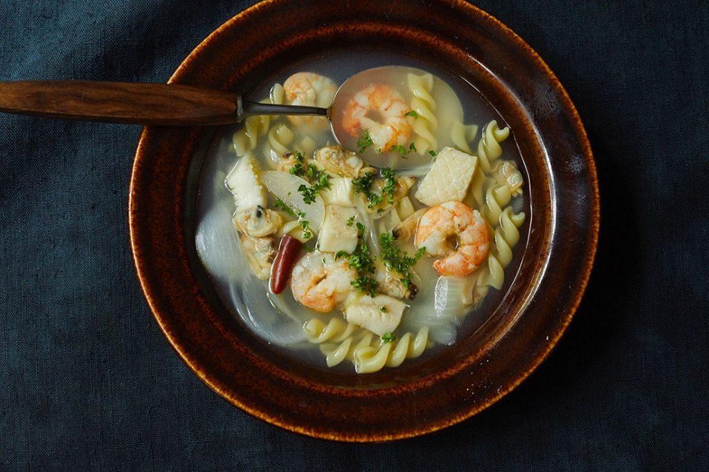 魚介とショートパスタのスープ