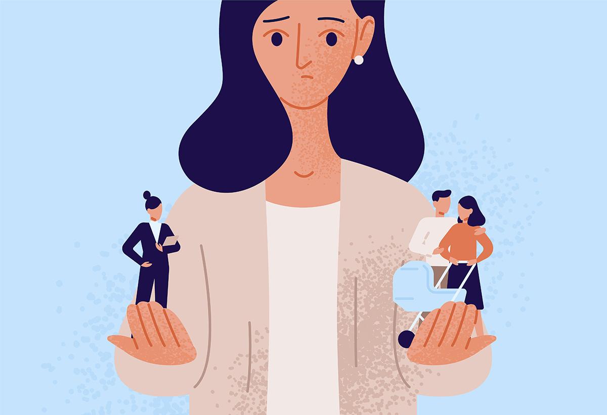 仕事と家庭のバランスに悩む女性