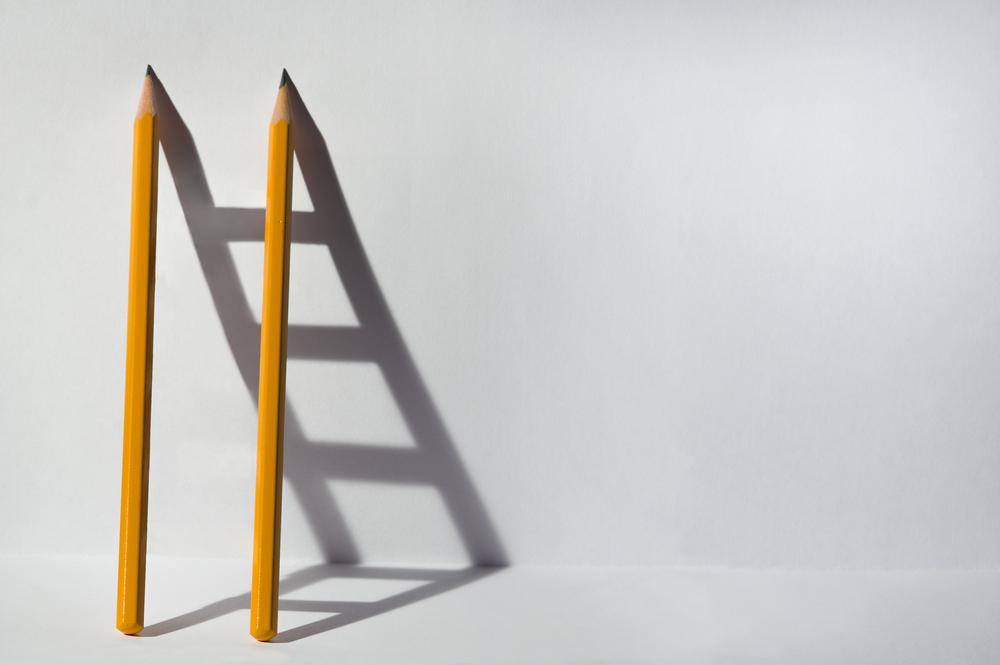 鉛筆の影でできたはしご
